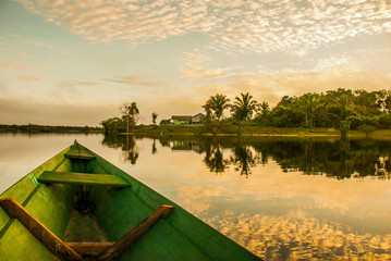 Beautiful sunrise on the river. View from the boat at Amazon river, with a dense forest on the shore and blue sky, Anazonas, Brazil Wall mural