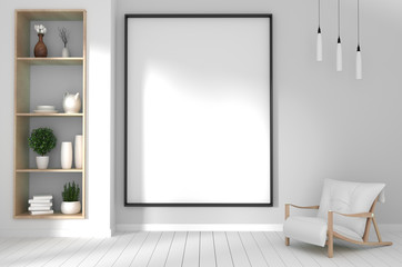 mock up poster frame in hipster green room interior japanese style.3D rendering