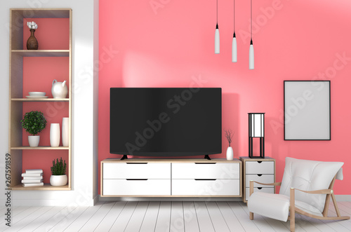 TV in japanese room with decoration on coral color wall background