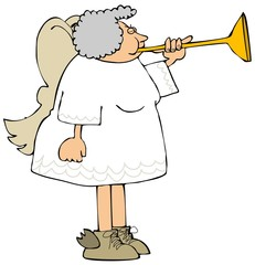 Female angel blowing a brass horn