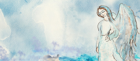 Watercolor angel. Christian banner