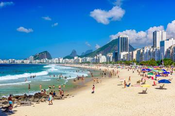 Wall Mural - Leme and Copacabana beach in Rio de Janeiro, Brazil. Copacabana beach is the most famous beach in Rio de Janeiro. Sunny cityscape of Rio de Janeiro