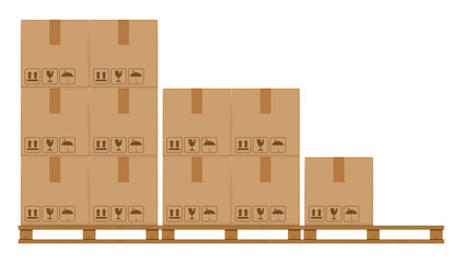 crate boxes on wooded pallet, wood pallet with cardboard box in factory warehouse storage, flat style warehouse cardboard parcel boxes stack, packaging cargo, 3d boxes brown isolated on white