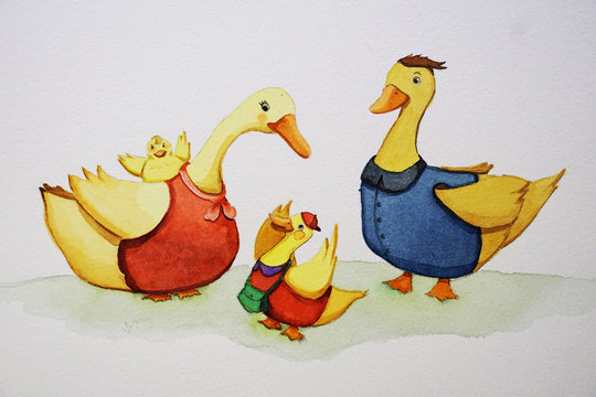 Watercolor painting of duck family including father, mother, and their two sons
