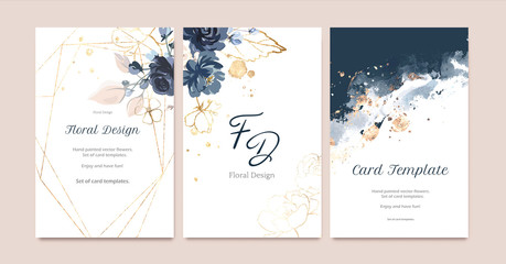 Set of card with flower rose, leaves. Wedding navy blue and gold concept. Floral poster, invite. Vector decorative greeting card or invitation design background