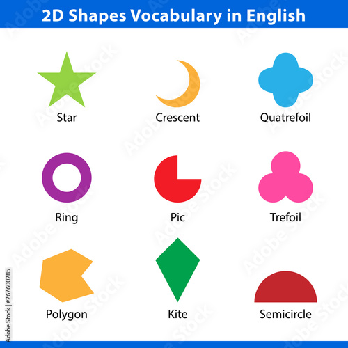 set of 2D shapes vocabulary in english with their name clip
