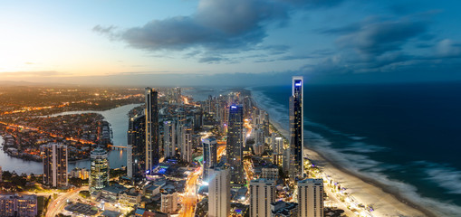 Panoramic sunset view of Surfers Paradise on the Gold Coast,