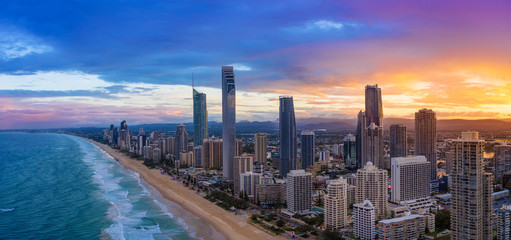 Sunset over Surfers Paradise on the Gold Coast