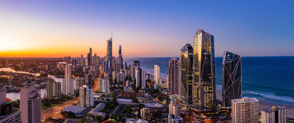 Acrylic Prints Coast Panoramic sunset view of Surfers Paradise on the Gold Coast looking from the south
