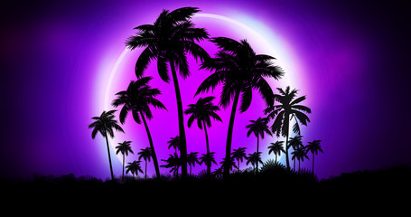 Space futuristic landscape. Neon palm tree, tropical leaves. Wall mural