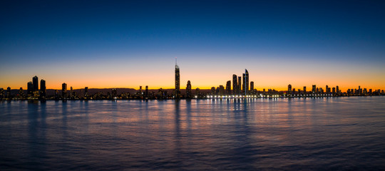Panorama of sunset over the skyline of the City of Gold Coast