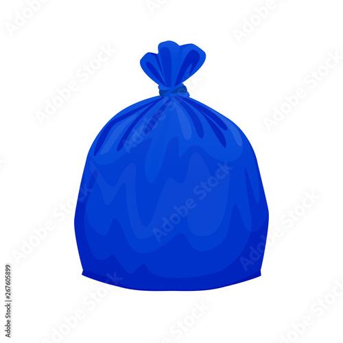 bag plastic waste blue isolated on white background, blue