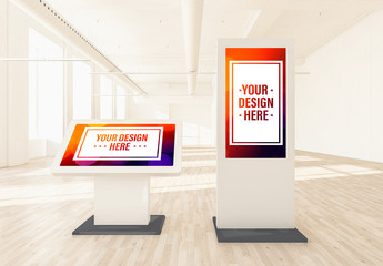Standing Podium Displays in a Bright Interior Mockup