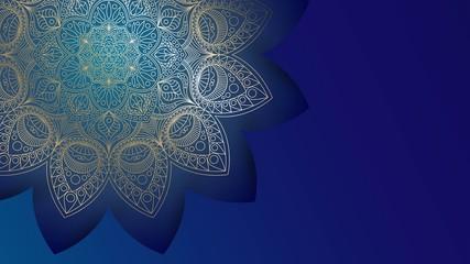 Background with golden mandalas, round indian pattern, muslim pattern
