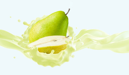Fresh fruit bio yogurt splash with ripe pear and pear half. Healthy breakfast meal label design with bio natural lactose free yogurt, cream, milk and pear. Banner ad design isolated. 3D