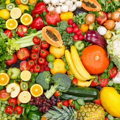 Fruits and vegetables collection food background square apples oranges tomatoes fresh fruit vegetable