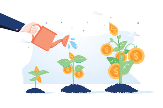 Business growth concept. Vector of a business man hand with pot watering profitable money tree.