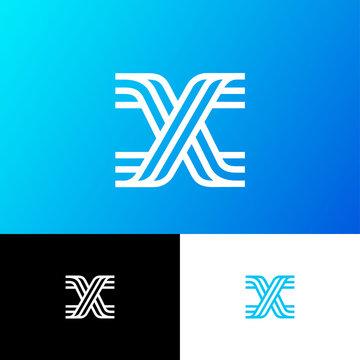 X letter. X monogram on different background. Web, UI icon. Identity.