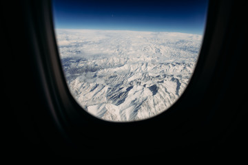 Mountain landscape through an aeroplane window, Afghanistan
