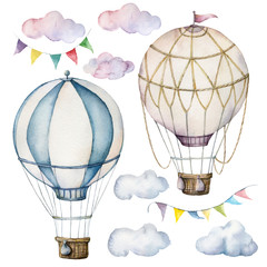Konturgeschnittene Aufkleber Watercolor set with hot air balloons and garland. Hand painted sky illustration with aerostate, clouds and flags isolated on white background. For design, prints, fabric or background.