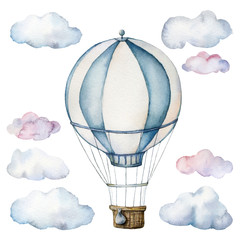 Watercolor set with hot air balloon and clouds. Hand painted sky illustration with aerostate isolated on white background. For design, prints, fabric or background.