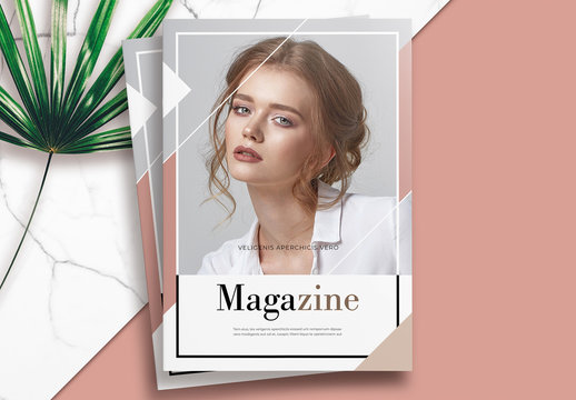 Pink and Brown Magazine Layout