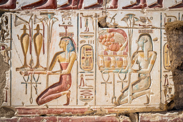 Close-up of hieroglyphics, Temple of Rameses II, Abydos, Egypt