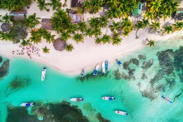 Aerial view of tropical beach.