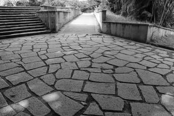 Beautiful balck and white photo of stoned walkway