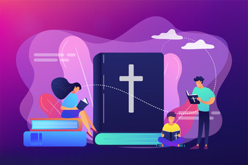 Tiny people christians reading the Holy Bible and learning about Christ. Holy Bible, sacred holy book, the word of God concept. Bright vibrant violet vector isolated illustration