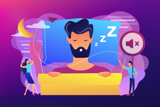 Businessman sleeping in bed and snoring, angry awake tiny people listening. Night snoring, sleep apnea syndrome, snoring and apnea treatment concept. Bright vibrant violet vector isolated illustration