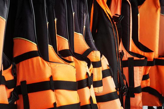 new orange black life jacket