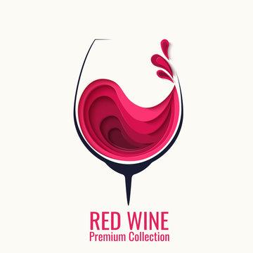 Red wine splash in glass