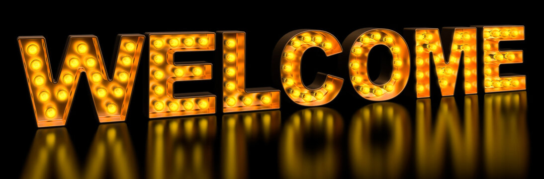 Welcome signboard from golden light bulb letters, retro glowing font. 3D rendering