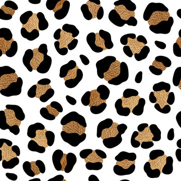 Leopard pattern design with golden spots. Chic animal print.