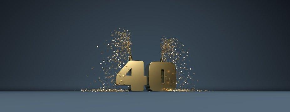 40 ans, mot en 3D doré sur fond bleu