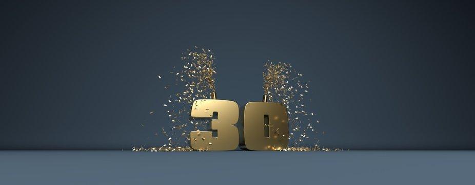 30 ans, mot en 3D doré sur fond bleu