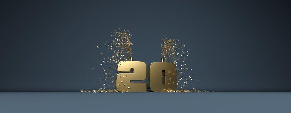 20 ans, mot en 3D doré sur fond bleu