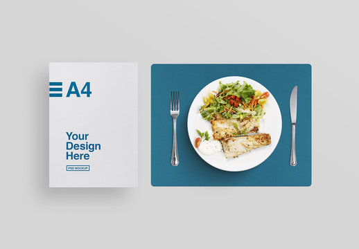 Top View Mockup of Paper, Dinner Plate, and Table Mat