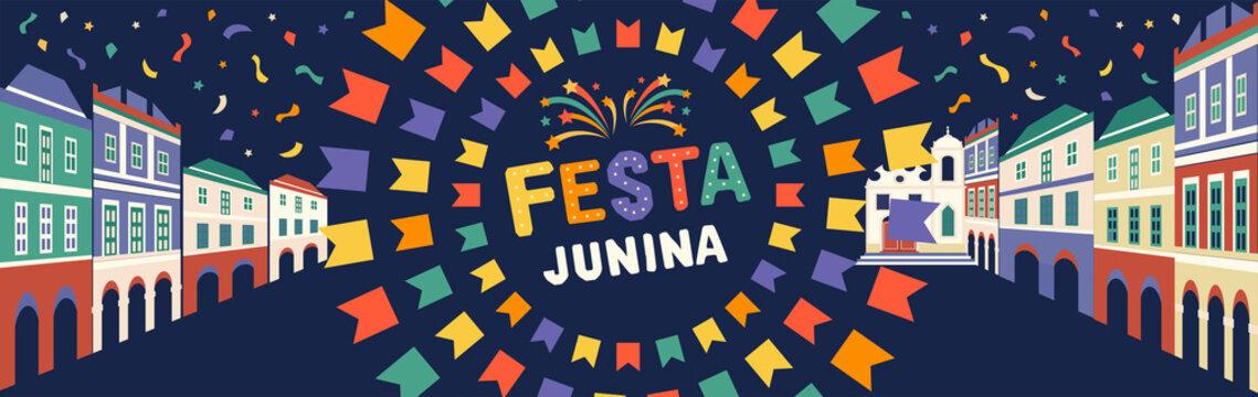 Festa Junina illustration. Latin American holiday. Vector banner.
