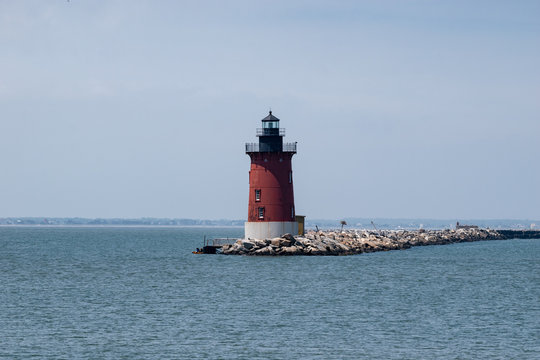 Red Lighthouse in the Delaware Bay