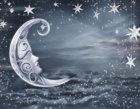 empty surreal fairy tale art background, night sky with moon face and stars, copy space
