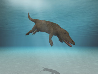 3d illustration of an Ambulocetus