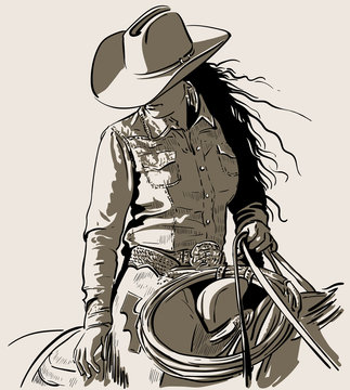 Woman with a cowboy hat. Cowboy girl riding horse with lasso. Hand drawn vector illustration. Illustration. Vector.