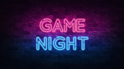 game night neon sign. purple and blue glow. neon text. Brick wall lit by neon lamps. Night lighting on the wall. 3d illustration. Trendy Design. light banner, bright advertisement Fotoväggar