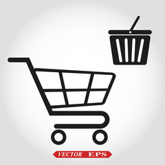 minimalistic illustration of a shopping cart with basket icon, eps10 vector