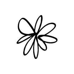 Hand drawn simple brush ink flower. Modern design grunge style element. Black vector symbol