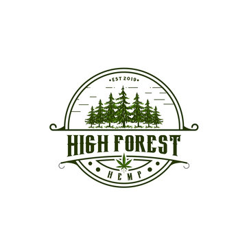 Vintage Pine and Cannabis Logo Vector / Hemp Design Inspiration
