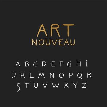 Vector uppercase handwritten alphabet in Art Nouveau style