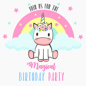 Birthday party invitation with baby unicorn